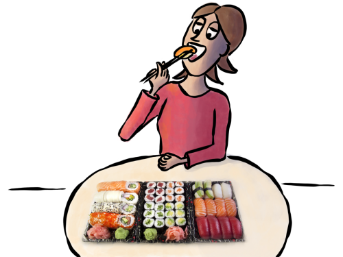 Alice eating sushi